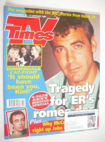 <!--1997-01-25-->TV Times magazine - George Clooney cover (25-31 January 19