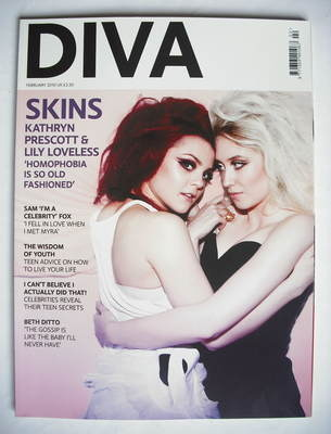 Diva magazine - Lily Loveless and Kathryn Prescott cover (February 2010)