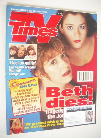 <!--1995-07-22-->TV Times magazine - Anna Friel and Sandra Maitland cover (