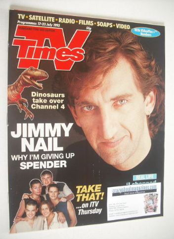 <!--1993-07-17-->TV Times magazine - Jimmy Nail cover (17-23 July 1993)
