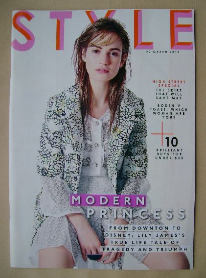 <!--2015-03-22-->Style magazine - Lily James cover (22 March 2015)