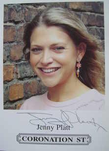 Jenny Platt autograph (ex Coronation Street actor)