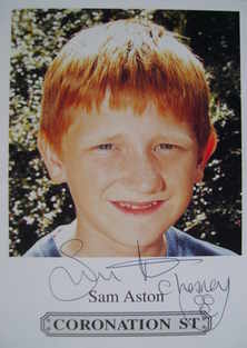 Sam Aston autograph (Coronation Street actor)