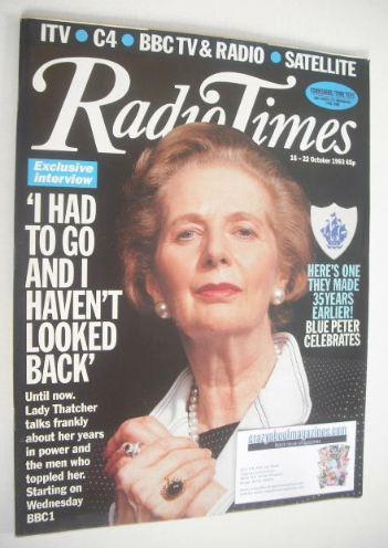 <!--1993-10-16-->Radio Times magazine - Margaret Thatcher cover (16-22 Octo