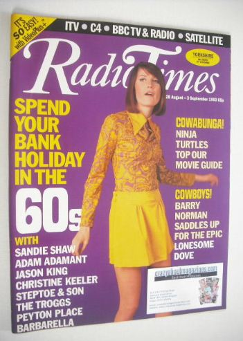 <!--1993-08-28-->Radio Times magazine - Sandie Shaw cover (28 August - 3 Se