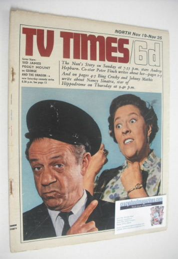 <!--1966-11-19-->TV Times magazine - Sid James and Peggy Mount cover (19-25