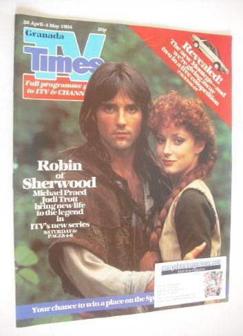 <!--1984-04-28-->TV Times magazine - Michael Praed and Judi Trott cover (28