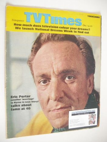 <!--1968-12-14-->TV Times magazine - Eric Porter cover (14-20 December 1968