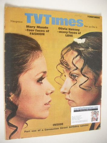 <!--1968-11-30-->TV Times magazine - Mary Maude and Olivia Hussey cover (30