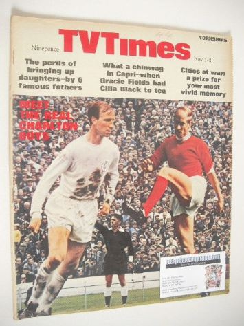 <!--1968-11-02-->TV Times magazine - Jack and Bobby Charlton cover (2-8 Nov