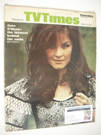 <!--1969-06-14-->TV Times magazine - Kate O'Mara cover (14-20 June 1969)