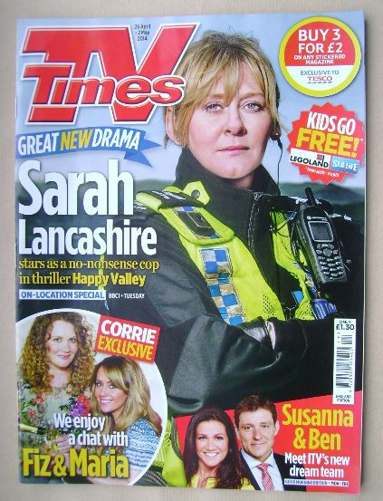 <!--2014-04-26-->TV Times magazine - Sarah Lancashire cover (26 April - 2 M