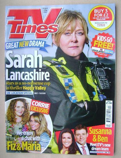 <!--2014-04-26-->TV Times magazine - Sarah Lancashire cover (26 April - 2 M
