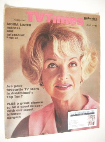 <!--1969-04-12-->TV Times magazine - Moira Lister cover (12-18 April 1969)