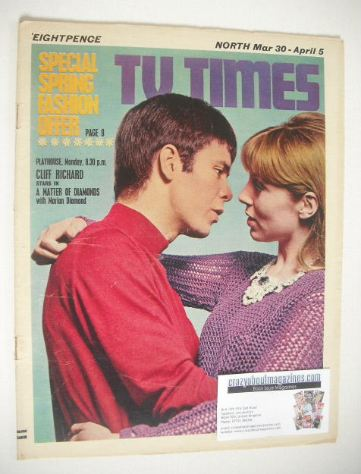 <!--1968-03-30-->TV Times magazine - Cliff Richard cover (30 March - 5 Apri