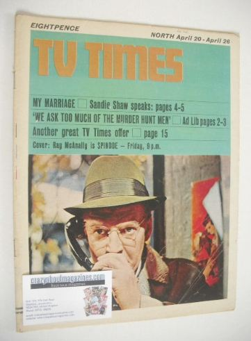 <!--1968-04-20-->TV Times magazine - Ray McAnally cover (20-26 April 1968)