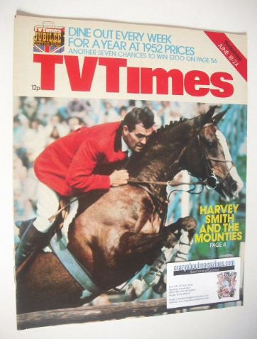 <!--1977-06-18-->TV Times magazine - Harvey Smith cover (18-24 June 1977)