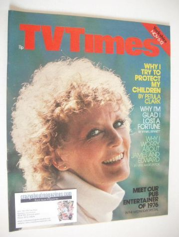 <!--1976-11-06-->TV Times magazine - Petula Clark cover (6-12 November 1976