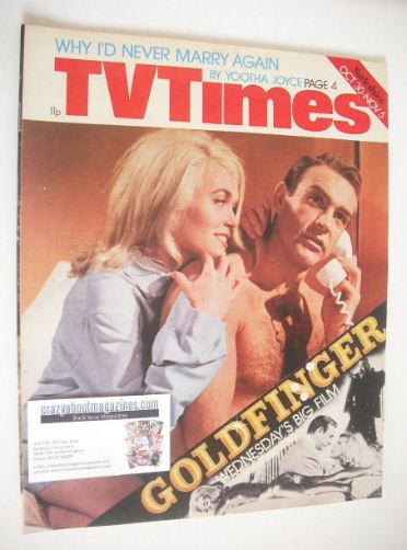<!--1976-10-30-->TV Times magazine - Sean Connery and Shirley Eaton cover (