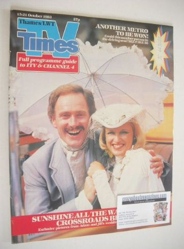 <!--1983-10-15-->TV Times magazine - Tony Adams and Jane Rossington cover (