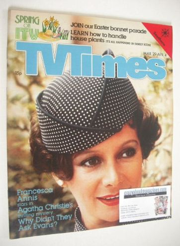 <!--1980-03-29-->TV Times magazine - Francesca Annis cover (29 March - 4 Ap