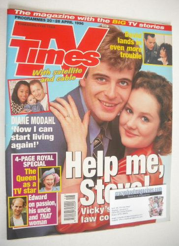 <!--1996-04-20-->TV Times magazine - Simon Gregson and Chloe Newsome cover