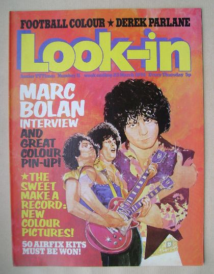 <!--1974-03-23-->Look In magazine - Marc Bolan cover (23 March 1974)