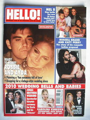 <!--2010-01-18-->Hello! magazine - Robbie Williams and Ayda Field cover (18