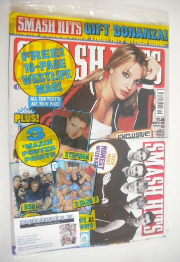 <!--2000-04-19-->Smash Hits magazine - Britney Spears cover (19 April 2000)