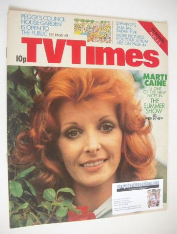 <!--1975-08-02-->TV Times magazine - Marti Caine cover (2-8 August 1975)