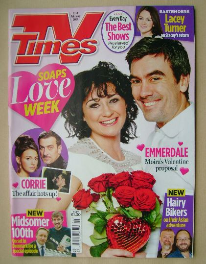 <!--2014-02-08-->TV Times magazine - Natalie J Robb and Jeff Hordley cover