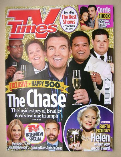 <!--2014-02-15-->TV Times magazine - The Chase cover (15-21 February 2014)