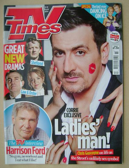<!--2014-03-08-->TV Times magazine - Chris Gascoyne cover (8-14 March 2014)