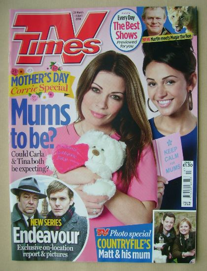 <!--2014-03-29-->TV Times magazine - Alison King and Michelle Keegan cover