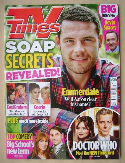 <!--2014-08-23-->TV Times magazine - Danny Miller cover (23-29 August 2014)