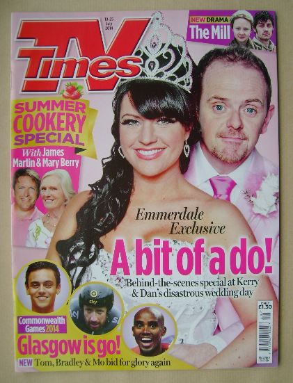 <!--2014-07-19-->TV Times magazine - Laura Norton and Liam Fox cover (19-25