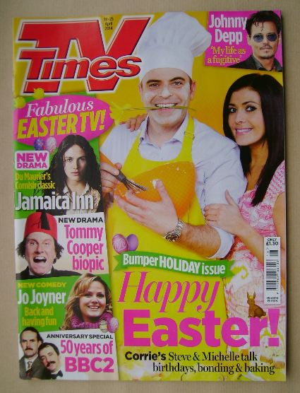 <!--2014-04-19-->TV Times magazine - Simon Gregson and Kym Marsh cover (19-