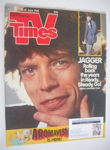 <!--1985-06-15-->TV Times magazine - Mick Jagger cover (15-21 June 1985)