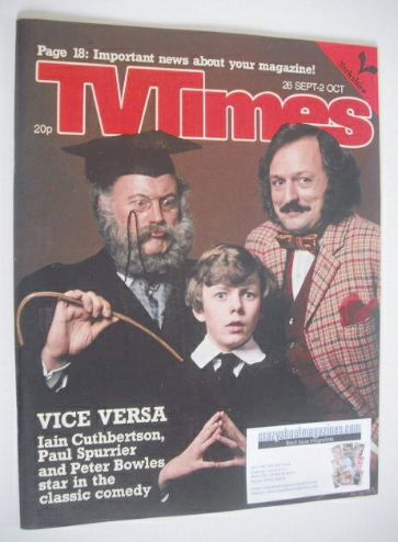 <!--1981-09-26-->TV Times magazine - Vice Versa cover (26 September - 2 Oct