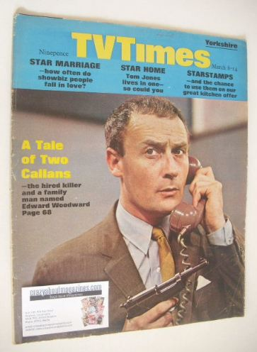 <!--1969-03-08-->TV Times magazine - Edward Woodward cover (8-14 March 1969