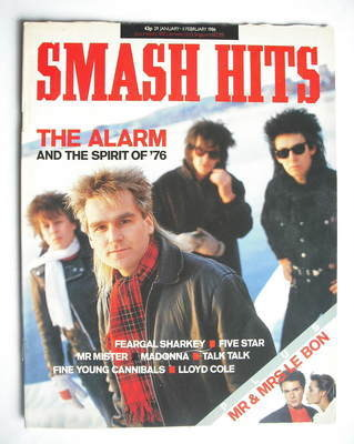 <!--1986-01-29-->Smash Hits magazine - The Alarm cover (29 January - 11 Feb