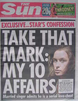 The Sun newspaper - Mark Owen cover (11 March 2010)