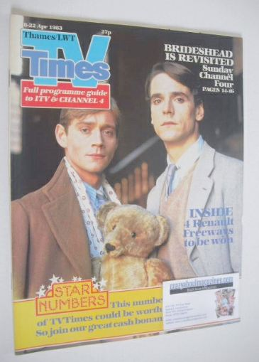 <!--1983-04-06-->TV Times magazine - Jeremy Irons and Anthony Andrews cover