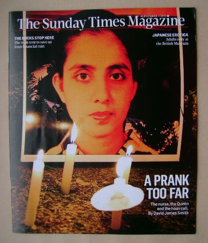 <!--2013-09-01-->The Sunday Times magazine - Jacintha Saldanha cover (1 Sep