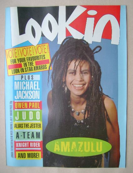 <!--1986-07-05-->Look In magazine - Amazulu cover (5 July 1986)