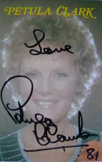 Petula Clark autograph