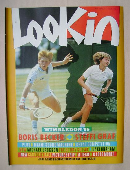 <!--1986-06-21-->Look In magazine - Boris Becker / Steffi Graf cover (21 Ju