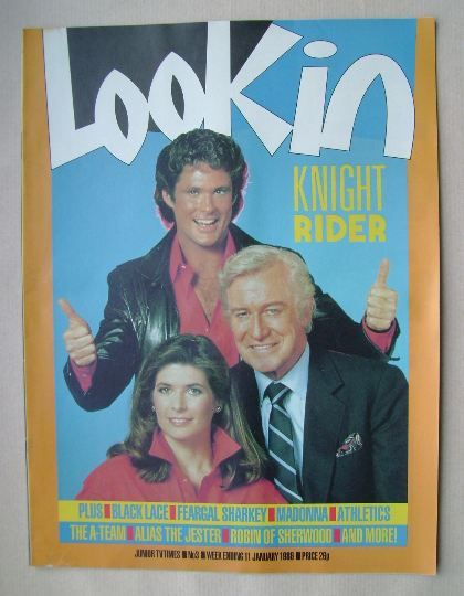 <!--1986-01-11-->Look In magazine - Knight Rider cover (11 January 1986)