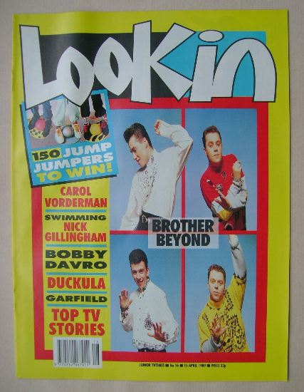 <!--1989-04-15-->Look In magazine - Brother Beyond cover (15 April 1989)