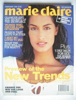 British Marie Claire magazine - February 1994 - Yasmeen Ghauri cover